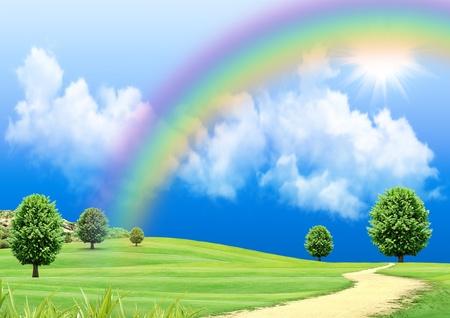 Foto de Rainbow over a green glade - Imagen libre de derechos