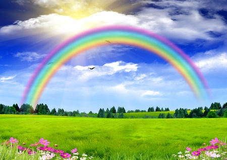 Photo pour Rainbow in the blue sky - image libre de droit