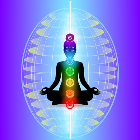 Illustration for Human aura with seven sparkling chakras, vector - Royalty Free Image