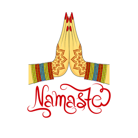 Illustration for Indian womans hand greeting posture of namaste, vector illustration - Royalty Free Image