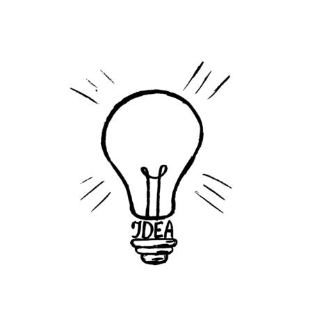 Ilustración de Hand drawn light bulb vector icon. - Imagen libre de derechos