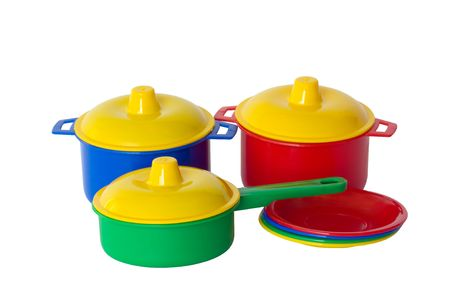 Children's toy dishes, isolated on a white background.