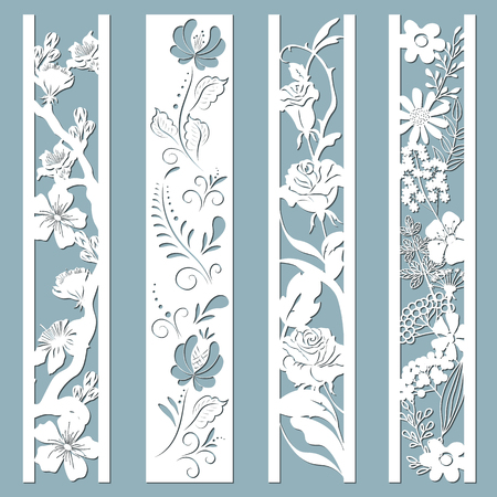 Ilustración de Die and laser cut ornamental panels with floral pattern. Gzhel, daisies, hibiscus, roses flowers and leaves. Laser cut decorative lace borders patterns. Set of bookmarks templates. - Imagen libre de derechos