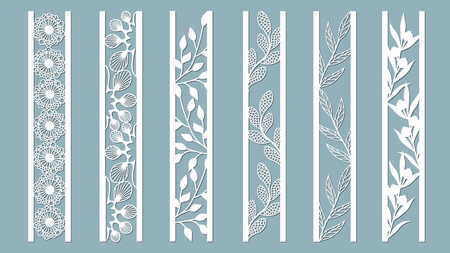 Ilustración de Ornamental panels with floral pattern. Flowers and leaves. Laser cut decorative lace borders patterns. Set of bookmarks templates. Image suitable for laser cutting, plotter cutting or printing. - Imagen libre de derechos