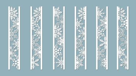 Ilustración de Ornamental panels with snowflake pattern. Laser cut decorative lace borders patterns. Set of bookmarks templates. Image suitable for laser cutting, plotter cutting or printing. serigraphy - Imagen libre de derechos