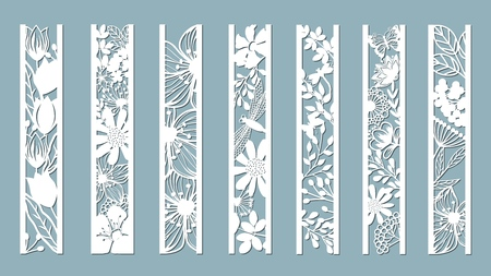 Ilustración de panels with floral pattern. Flowers and leaves. Laser cut. Set of bookmarks templates. Image for laser cutting, plotter cutting or printing. Tulip, Daisy. plotter and screen printing. serigraphy. - Imagen libre de derechos