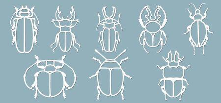 Ilustración de Set beetle paper. Laser cut. Set template for laser cutting and Plotter. Vector illustration. Pattern for the laser cut, plotter and screen printing... - Imagen libre de derechos