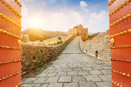 Foto de The Great Wall in the sunset,in Beijing, China - Imagen libre de derechos