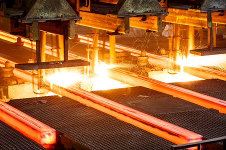 Photo pour Metal smelting furnace in steel mills - image libre de droit