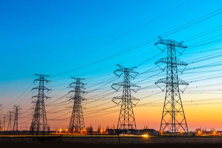 Photo pour high voltage post,High voltage tower sky sunset background - image libre de droit
