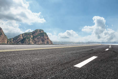 Photo for asphalt road and mountain background - Royalty Free Image