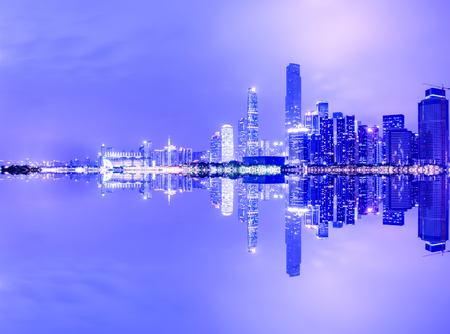 Photo pour Guangzhou China modern city skyline panorama on the zhujiang river at night - image libre de droit