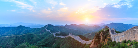 Photo pour The Great Wall of China at sunrise,panoramic view - image libre de droit