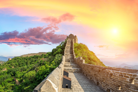 Photo pour Beautiful Great Wall of China at sunset - image libre de droit