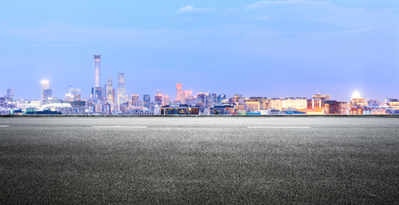 Photo for Panoramic beijing skyline and buildings with empty road - Royalty Free Image