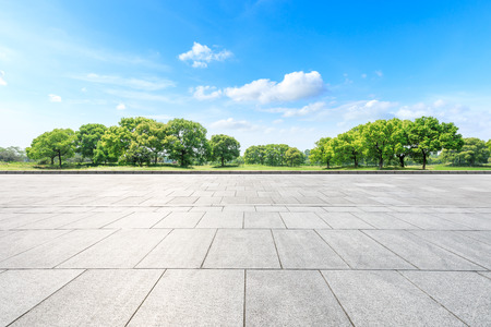 Photo pour Empty square floor and green forest in the city park - image libre de droit