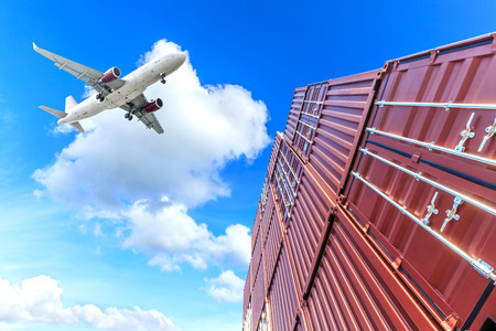 Photo for Industrial Container yard for Logistic Import Export business,low angle shot - Royalty Free Image