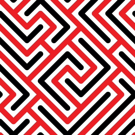 Ilustración de Seamless pattern with red and black geometric lines in white background - Imagen libre de derechos