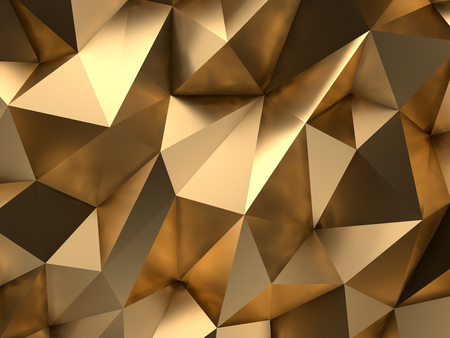 Foto de Luxury Gold Abstract Polygonal Background 3D Rendering - Imagen libre de derechos