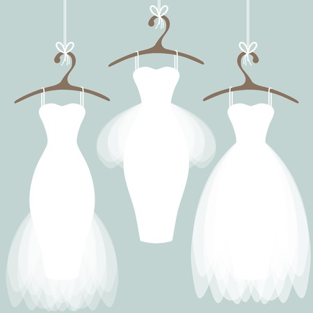 Illustrazione per Wedding dresses on hangers. Pastel background - Immagini Royalty Free