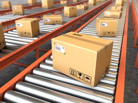 Foto de Box on conveyor roller.Shipping and logistics concept - Imagen libre de derechos