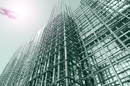 Photo for Steel grid on the construction site - Royalty Free Image
