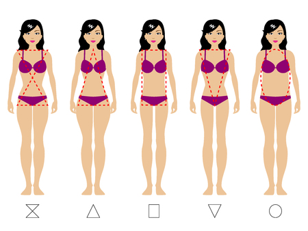 Ilustración de Vector illustration of five types of the female body. Kind of a female figure. Isolated on white background. The girl in underwear. Weight loss concept. - Imagen libre de derechos