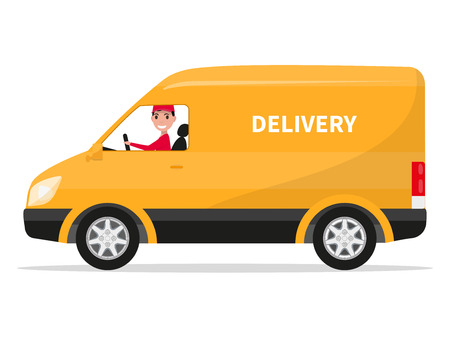Illustration pour Vector illustration of cartoon delivery van with deliveryman. Isolated on white background. Flat style. Side view, profile. Yellow truck delivery. Courier delivery sitting in the car. Cargo auto. - image libre de droit