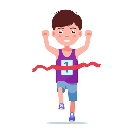 Ilustración de Vector illustration of a cartoon boy running and winning a marathon. Isolated white background. Kid runner winner. The child finishes the first race. Flat style. - Imagen libre de derechos