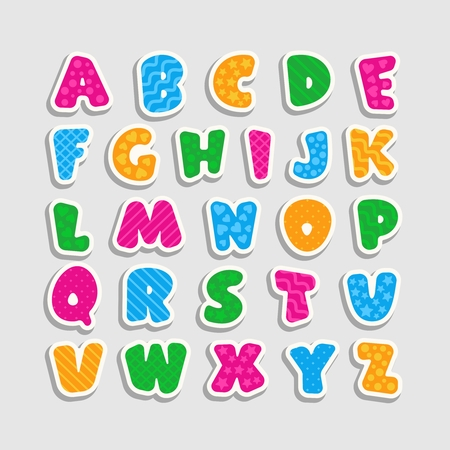 Ilustración de Alphabet for kids with a pattern in the form of strips, hearts, waves, stars and circles. Cartoon style. Children's font with pink, blue, yellow and green letters. Vector illustration. - Imagen libre de derechos