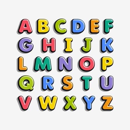 Ilustración de Alphabet for kids in the cartoon style. Children's font with colorful letters. Vector illustration. - Imagen libre de derechos
