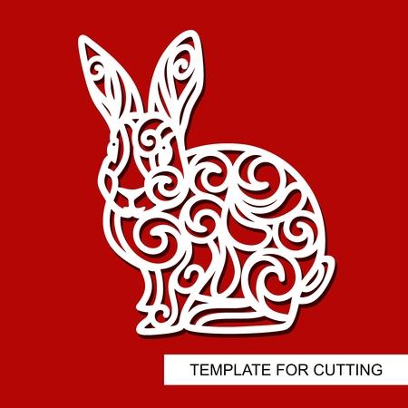 Ilustración de Silhouette of Rabbit - decor for Easter. Template for laser cutting, wood carving, paper cut and printing. Vector illustration. - Imagen libre de derechos