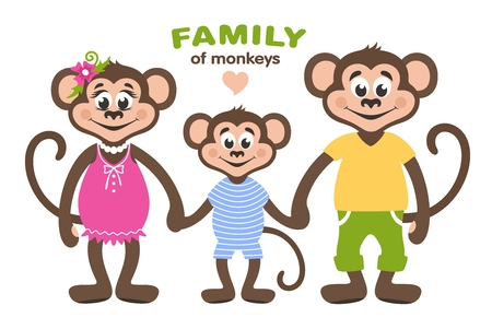 Illustration pour A family of three monkeys - mom, dad and son. Cartoon characters for children. Vector illustration. - image libre de droit
