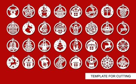 Ilustración de Santa Claus, Christmas tree, Snowman, Christmas tree, House. Template for laser cut. New Year theme. Vector illustration. - Imagen libre de derechos