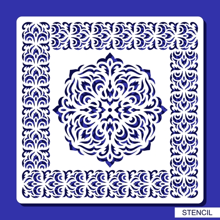 Ilustración de Stencil round ornament and square border. Carved mandala contour in arabesque style. Circular pattern and frame silhouette. Template for laser cutting, paper cut and printing. Vector illustration. - Imagen libre de derechos