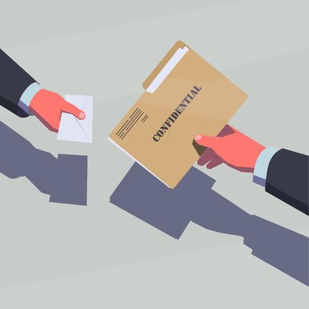 Ilustración de Selling the secret information. Male hands passing confidential folder and envelope with money. - Imagen libre de derechos