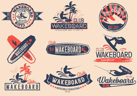 Ilustración de Vintage vector set of logos for the wakeboard club for your unique design, printing on a T-shirt, the Internet. - Imagen libre de derechos