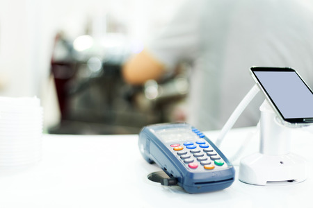 Photo for POS machine for credit card in technical exhibition - Royalty Free Image
