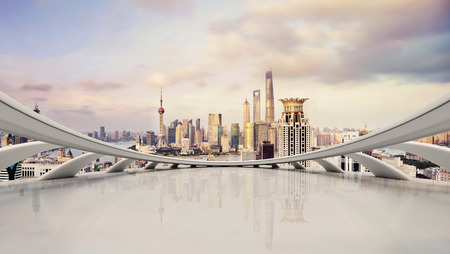 Photo pour modern city skyline,traffic and cityscape in Shangha,China - image libre de droit