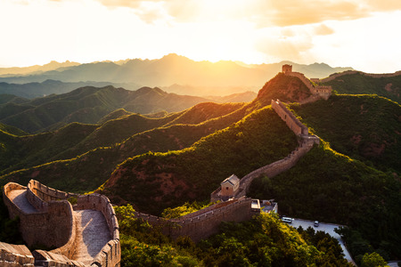 Photo for Great wall under sunshine during sunset - Royalty Free Image