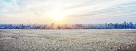 Photo for Panoramic skyline and buildings with empty concrete square floor - Royalty Free Image