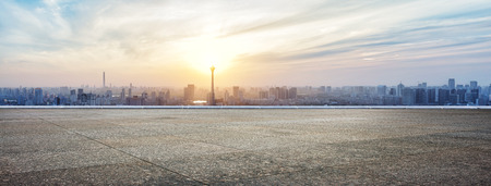 Photo pour Panoramic skyline and buildings with empty concrete square floor - image libre de droit