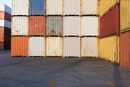 Foto per Industrial Container yard for Logistic Import Export business - Immagine Royalty Free