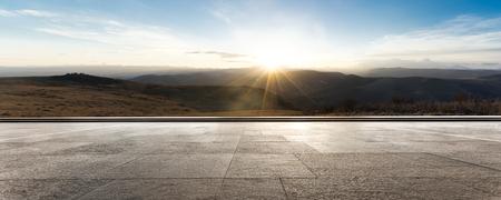 Photo pour empty brick ground with sunrise - image libre de droit