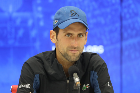 Photo pour NEW YORK - SEPTEMBER 3, 2018: 13-time Grand Slam champion Novak Djokovic of Serbia during press conference after his 2018 US Open round of 16 match at Billie Jean King National Tennis Center - image libre de droit