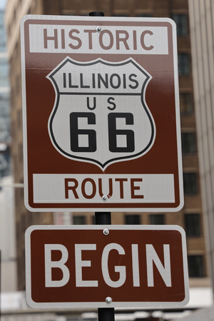 Photo for Route 66 sign, the beginning of historic Route 66 in Chicago, Illinois - Royalty Free Image
