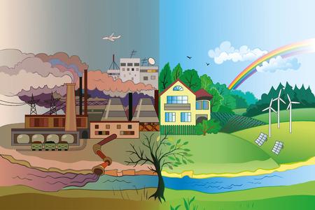 Ilustración de Ecology Concept Vector: urban and village landscape.  Environmental pollution and environment protection. - Imagen libre de derechos