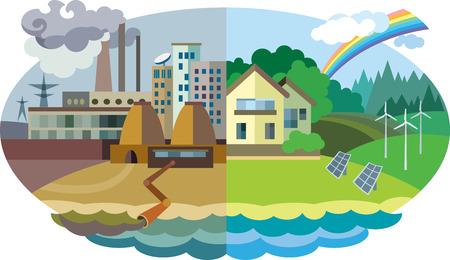 Ilustración de Flat design vector concept illustration: urban and village landscape. Environmental pollution and environment protection - Imagen libre de derechos