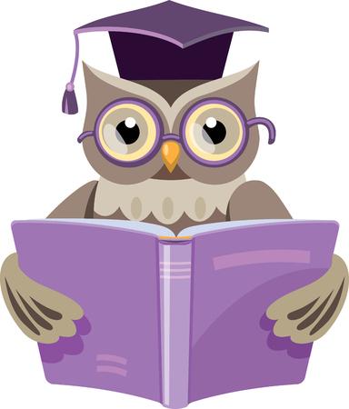 Ilustración de owl in the graduate's cap with the open book - Imagen libre de derechos