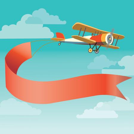 Ilustración de Vector image of vintage plane with banner in the sky - Imagen libre de derechos